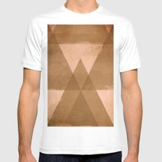 Distressed Triangles Mens Fitted Tee White MEDIUM
