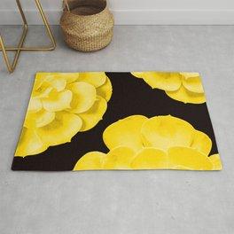 Large Yellow Succulent On Black Background #decor #society6 #buyart Rug