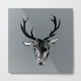 Stag Grey Metal Print