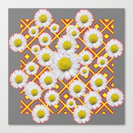 Shasta Daisies Red Pattern Art Grey abstract Canvas Print