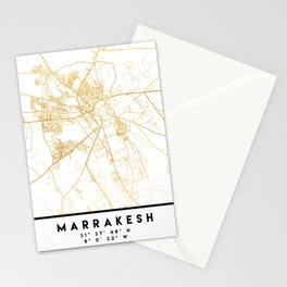 MARRAKESH MOROCCO CITY STREET MAP ART Stationery Cards