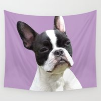 french bulldog Wall Tapestries featuring French Bulldog by Aaron Pettijohn