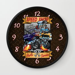 Speed Shop Hot Rod Muscle Car Parts and Service Vintage Cartoon Illustration Wall Clock
