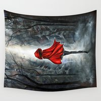 red riding hood Wall Tapestries featuring Little Red Riding Hood by Annya Kai