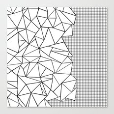 Abstraction Outline Grid on Side White Canvas Print