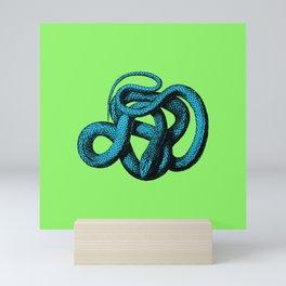 Snek 1 Snake Teal Turquoise Lime Green Mini Art Print