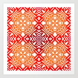 Tribal Tiles (RED ORANGE) Abstract Vibrant Geometric Shapes Pattern Design Art Print