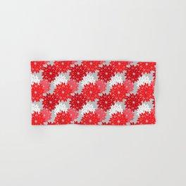 Modern Floral Kimono Print, Coral Red and Gray Hand & Bath Towel