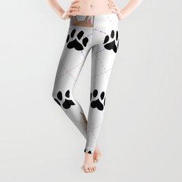 Corgi paw print pattern Leggings