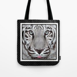 White Tiger with a little tougue Tote Bag