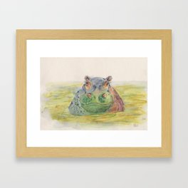 Ink Animals of Africa - Harriet Hippo Framed Art Print