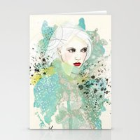 fashion illustration Stationery Cards featuring FASHION ILLUSTRATION 10 by Justyna Kucharska