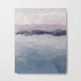 Plum Purple Lavender Blue Abstract Painting Ocean Waves Cloud Horizon, Modern Wall Art, Digital Metal Print