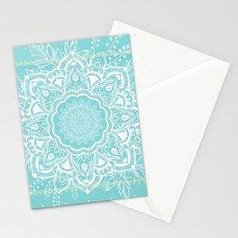 mandala bohemian embellishments floral medallion turquoise Stationery Cards