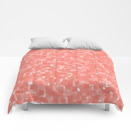 Peach Echo Pixels Comforters
