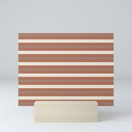 Slate Violet Gray and Creamy Off White Stripes Thick and Thin Horizontal Lines on Cavern Clay Mini Art Print