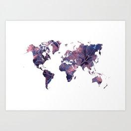 world map 76 purple Art Print