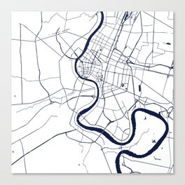 Bangkok Thailand Minimal Street Map - Navy Blue and White Canvas Print