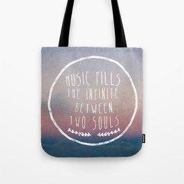 I. Music fills the infinite Tote Bag