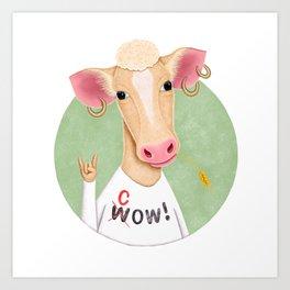 Wow Cow | Cow Illustration Art Print