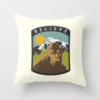 bigfoot Throw Pillows featuring Bigfoot Patch by uhohreilly