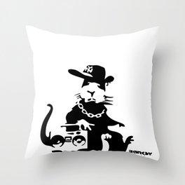 Banksy Gangsta Rat Throw Pillow