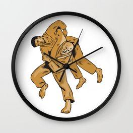Judo Combatants Throw Front Etching Wall Clock