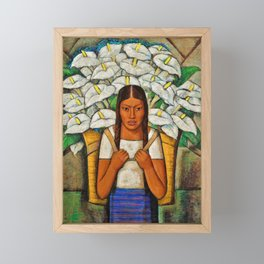 Young Guadalajara Flower Seller with Calla Lilies by Diego Rivera Framed Mini Art Print