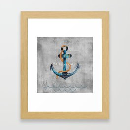Maritime Design- Nautic Anchor Navy Marine Beach Framed Art Print