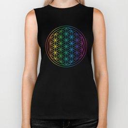 Flower Of Life Rainbow Sacred Geometry Biker Tank
