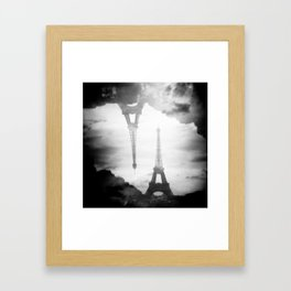 Eiffel Tower Black and White Double Exposure - Paris, France Framed Art Print