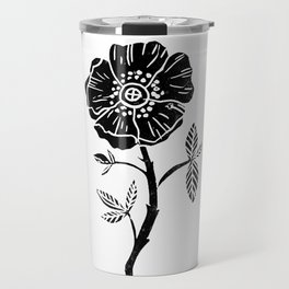 Linocut Rose floral single stem flower black and white printmaking Travel Mug