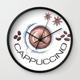 Cappuccino in Watercolor Wall Clock