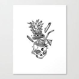 PinaSkullada | Black & White Canvas Print