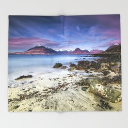 Beach Scene - Mountains, Water, Waves, Rocks - Isle of Skye, UK Throw Blanket