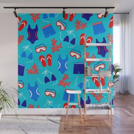Summer Swim Party Pattern Wall Mural