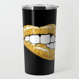 Gold glitter lips Travel Mug