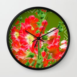 Moss Green Red Orange Holly Hocks Pattern  Color Floral Art Wall Clock