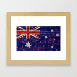 Australia flag on a brick wall Framed Art Print