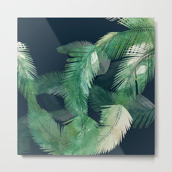 Tropical Leaves at Night Metal Print