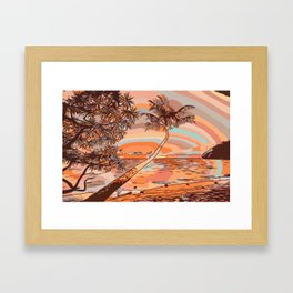 Sunny sea and beach with palmtree Framed Art Print