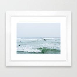 Tiny Surfers Lima, Peru 3 Framed Art Print