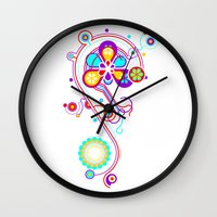 psychedelic Wall Clocks featuring Psychedelic by tuditees