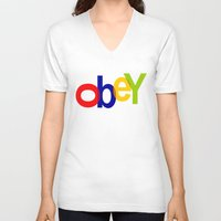obey V-neck T-shirts featuring obey by sasha alexandre keen
