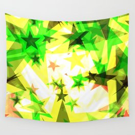 Bright glowing green golden stars on a light background in the projection. Wall Tapestry