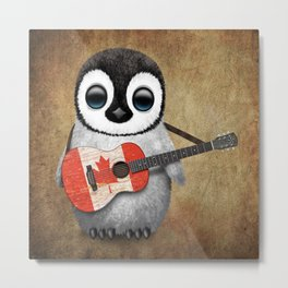 Baby Penguin Playing Canadian Flag Guitar Metal Print