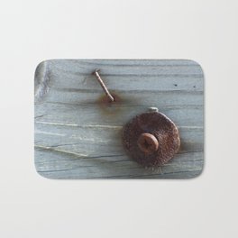 Rusty Nail, Washer and Screw in Wood Bath Mat