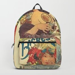 Alfons Mucha Art Nouveau Beer Ad Backpack
