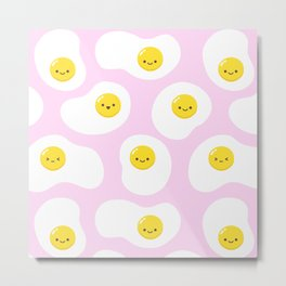 Cute Fried Eggs Pattern Metal Print