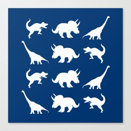 Blue and White Dinosaurs Canvas Print